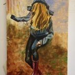 Falling #Yellow (2013) Oil on Canvas