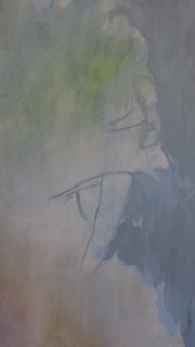 Figure emerging with overlayed background